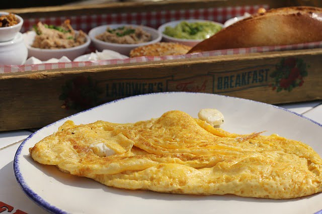 BEEF BACON CHEDDAR CHIVE OMELETTE